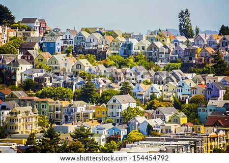 urban houses in San Francisco - stock photo