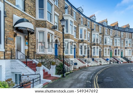 Urban housing in Scarborough in Yorkshire England