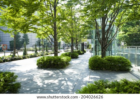 Urban landscape and trees - stock photo