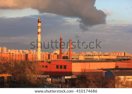 Urban landscape at sunset Industrial Zone