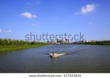 Urban landscape in the North River Park, on august 1, 2014, Luannan County, HeBei Province, China   - stock photo