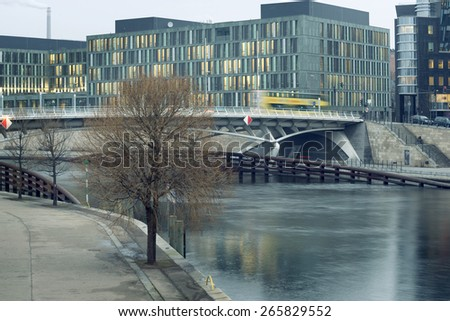 urban landscape with Spree river in Central Berlin