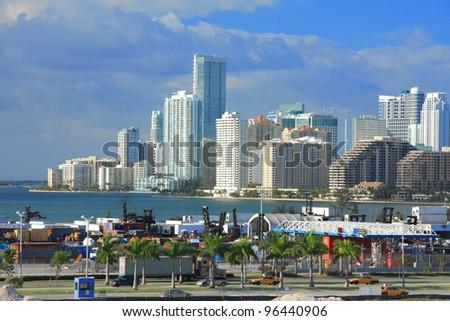 Urban life in Miami town ,Florida , USA. - stock photo