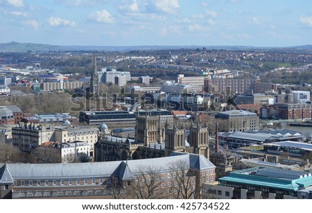 Urban Rooftop City View of Bristol, United Kingdom