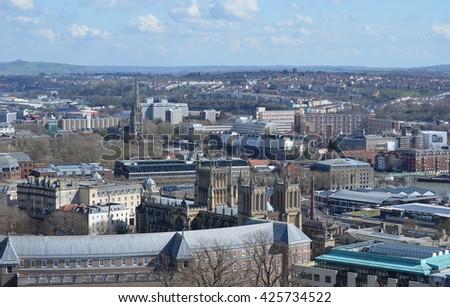 Urban Rooftop City View of Bristol, United Kingdom  - stock photo