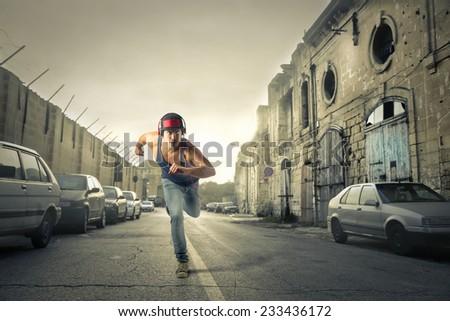 Urban runner  - stock photo