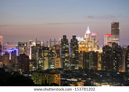 Urban scenery with skyscrapers and apartments in night, Taipei, Taiwan. - stock photo