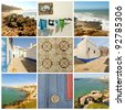Urban scenes from the coastal towns of Portugal. Collage. - stock photo