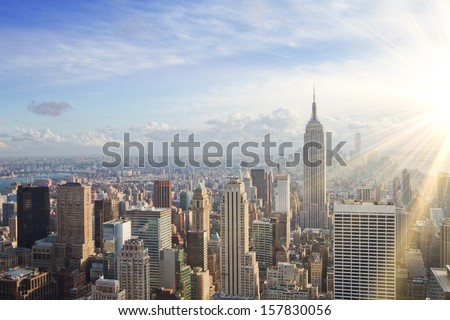 urban skyline at sunset. New York city - stock photo