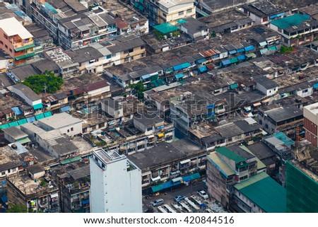 Urban slums of Bangkok, top view - stock photo