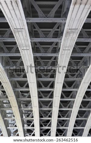Urban, symmetrical metal construction pattern, bridge - stock photo