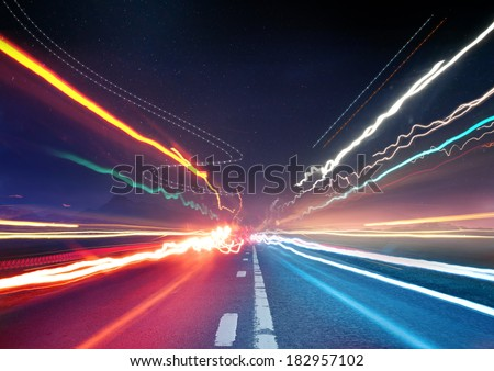 Urban Traffic Light Trails - Light trails from transport - rush hour. - stock photo