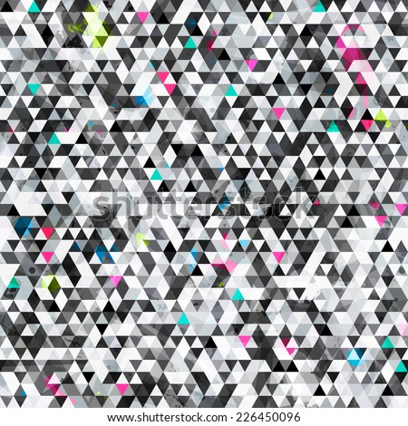 urban triangle seamless pattern with grunge effect (raster version) - stock photo
