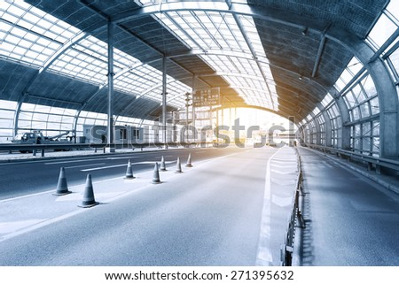 urban tunnel with steel roof  - stock photo
