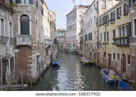 urban view of venice canal - stock photo