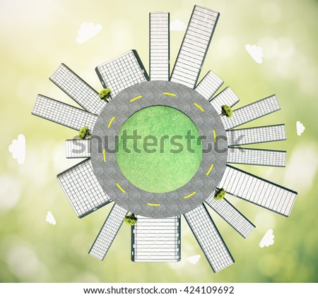 Urbanization concept with buildings and road on globe. Abstract green background, 3D Rendering - stock photo