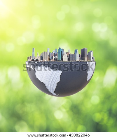 Urbanization concept with globe and city on abstract green background. 3D Rendering. Elements of this image furnished by NASA - stock photo