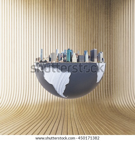 Urbanization concept with globe and city on brown background. 3D Rendering. Elements of this image furnished by NASA - stock photo