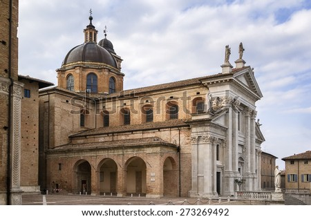 Urbino Cathedral is a Roman Catholic cathedral in the city of Urbino, Italy, dedicated to the Assumption of the Blessed Virgin Mary - stock photo