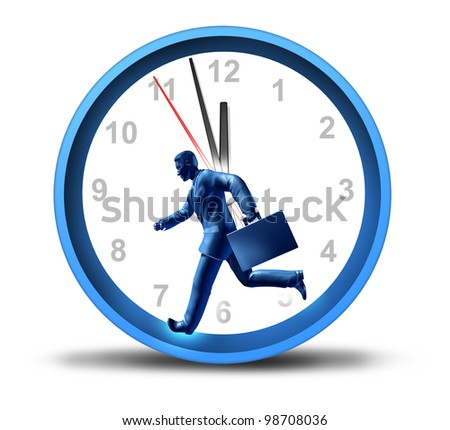 Urgent business deadline with a man in a suit and briefcase running in a clock with minute and hour hands as a symbol of work pressure and financial stress or fast service and speedy delivery. - stock photo