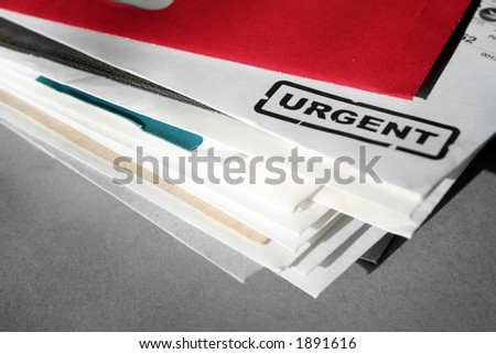 urgent letters, business concept of processing mails