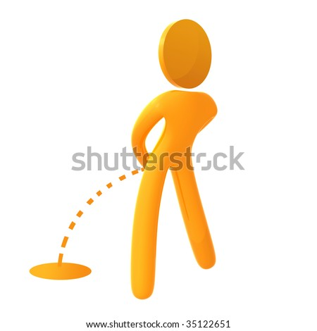 Urinating 3d public sign icon - stock photo