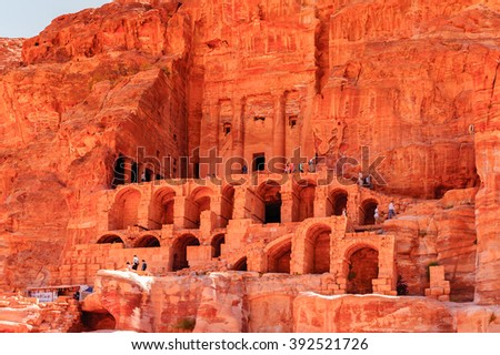 Urn tomb in Petra (Rose City), Jordan. The city of Petra was lost for over 1000 years. Now one of the Seven Wonders of the Word - stock photo