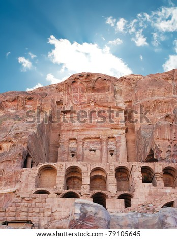 Urn tomb - the first of famous Royal Tombs, Petra, Jordan - stock photo