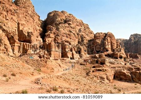 Urn Tombs in Wadi al-Farasa valley, Petra, Jordan - stock photo