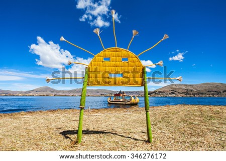 Uros floating island near Puno city, Peru - stock photo