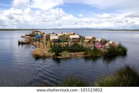 Uros, floating islands of lake Titicaca, Puno, Peru. - stock photo