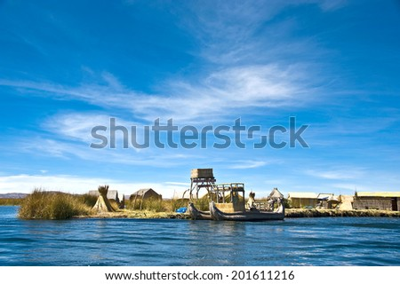 Uros - Floating Islands, Titicaca Lake, Peru - stock photo