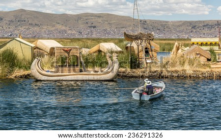 UROS ISLAND, PUNO, PERU: Floating island of Uros, in Puno, peru. - stock photo