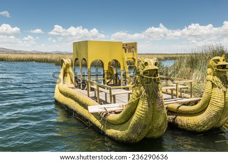 UROS ISLANDS, PUNO, PERU: Reed boat on Lake Titicaca - stock photo