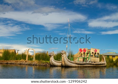 Uros, the floating and tourist  Islands of lake Titicaca Puno Peru South America - stock photo