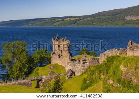 Urquhart Castle beside Loch Ness lake, Scotland - stock photo
