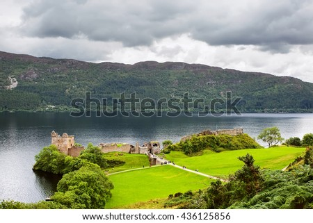 Urquhart Castle next to Loch Ness in the Highlands of Scotland, UK - stock photo