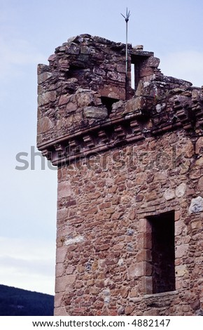 Urquhart Castle tower at Loch Ness Scotland - stock photo