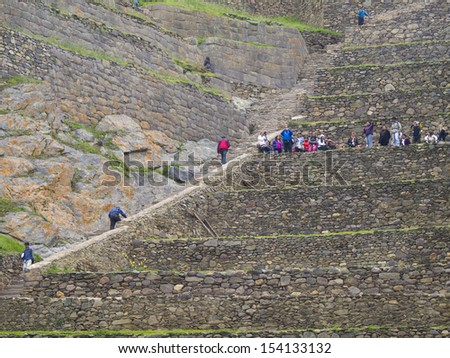 URUBAMBA, PERU - MAR 14: Ollantaytambo, an archaeological site in Peru on Mar 14, 2011 in Urubamba, Peru. Ollantaytambo was the royal estate of Emperor who conquered the region during the Inca Empire.
