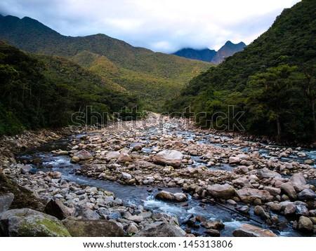 Urubamba river near Machu Picchu (Peru) - stock photo