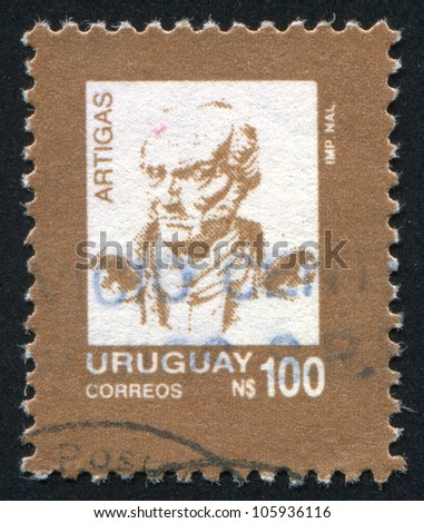 URUGUAY - CIRCA 1990: A stamp printed by Uruguay, shows Jose Gervasio Artigas, circa 1990 - stock photo