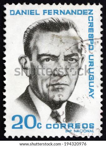 URUGUAY - CIRCA 1966: a stamp printed in the Uruguay shows Daniel Fernandez Crespo, Politician, circa 1966 - stock photo