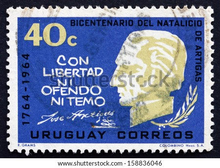 URUGUAY - CIRCA 1965: a stamp printed in the Uruguay shows Jose Gervasio Artigas Arnal National Hero of Uruguay, General and Patriot, circa 1965 - stock photo