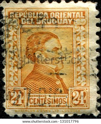 URUGUAY - CIRCA 1928: A stamp printed in Uruguay shows Jose Gervasio Artigas, circa 1928 - stock photo