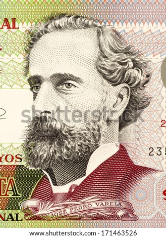 URUGUAY - CIRCA 2008: Jose Pedro Varela (1845-1879) on 50 Pesos 2008 Banknote from Uruguay. Uruguayan sociologist, journalist, politician and educator. - stock photo
