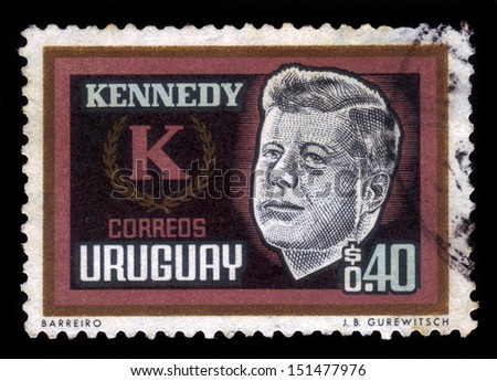 URUGUAY - CIRCA 1965: stamp printed by Uruguay, shows John Kennedy, 35th President of the United States, circa 1965 - stock photo