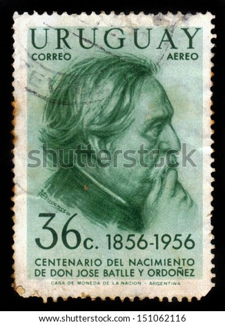 URUGUAY - CIRCA 1956: stamp printed by Uruguay, shows Jose Batlle y Ordonez, president of Uruguay, circa 1956 - stock photo
