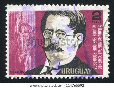 URUGUAY - CIRCA 1967: stamp printed by Uruguay, shows Jose Enrique Rodo, circa 1967 - stock photo