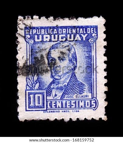 URUGUAY - CIRCA 1945: stamp printed by Uruguay, shows Jose Longinos Ellauri Fernandez (1789�1867) was a Uruguayan political figure, circa 1945 - stock photo