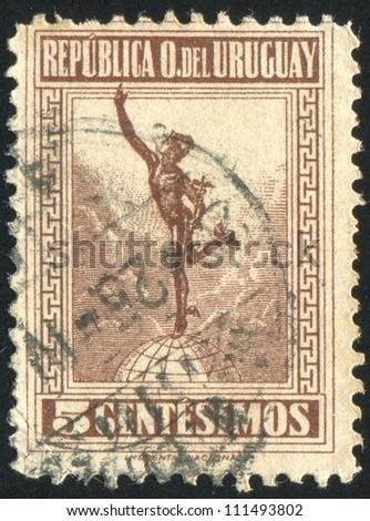 URUGUAY - CIRCA 1922: stamp printed by Uruguay, shows Mercury, circa 1922 - stock photo